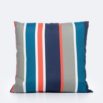 Throw Pillow - Red, Navy & Beige Striped