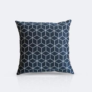 Throw Pillow - Navy Cubes
