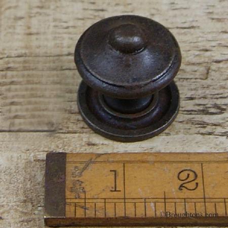 Iron Cupboard Door Knob 35mm with Rose Waxed Iron