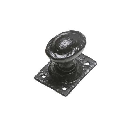 Kirkpatrick 1089 Oval Door Knobs Square Back Plate Antique Black