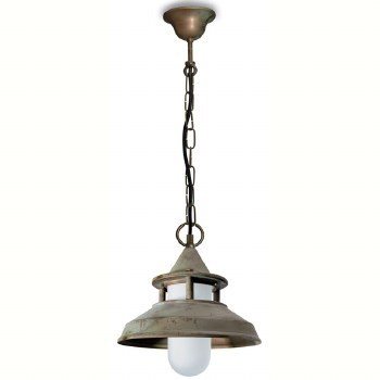 Modena Porch Hanging Light Aged Copper Opal Glass