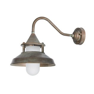 Modena Wall Bracket Swan Neck Light Aged Copper Opal Glass