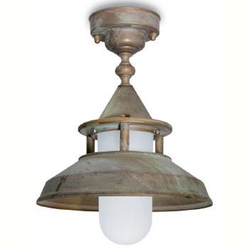 Modena Fixed Pendant Porch Light Aged Copper Opal Glass
