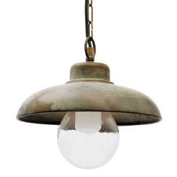 Pisa Single Hanging Ceiling Light Aged Copper Large Glass