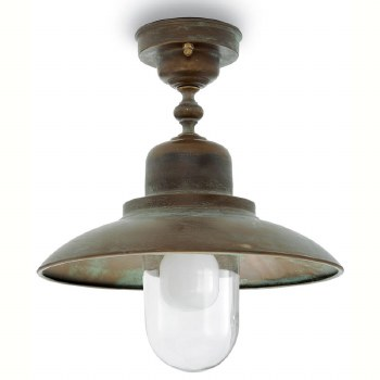 Bianco Ceiling Light Aged Copper & Round Glass