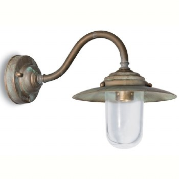 Palermo Swan Neck Outdoor Wall Light Aged Copper Clear Glass Broughtons Lighting Ironmongery