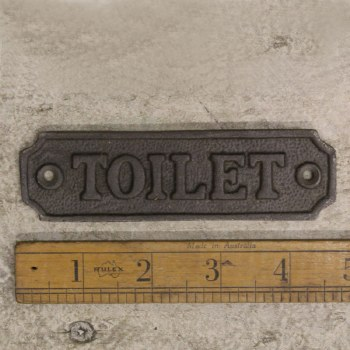 Toilet Sign Waxed Cast Iron sign