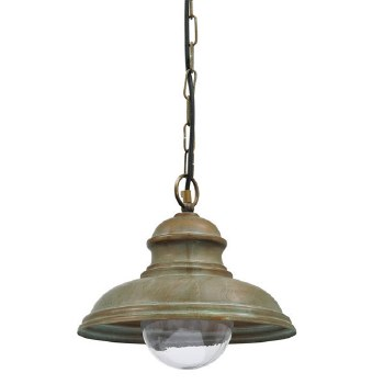 Como Hanging Ceiling Light Aged Copper Large Glass