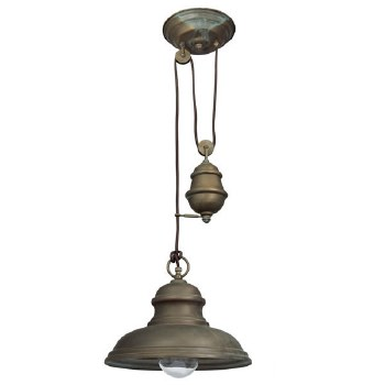 Rise & Fall Pendant Light 1596 Aged Copper With Clear Glass Shade