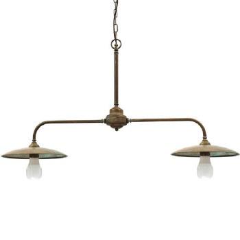 Biella Double Ceiling Pendant Aged Copper