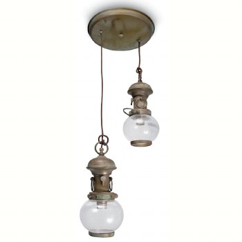 Potenza Double Ceiling Light Aged Copper