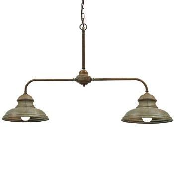 Enna Double Arm Pendant Ceiling Light Aged Copper