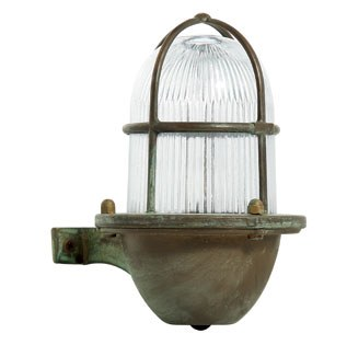 Veneto Outdoor Wall Light Clear Glass Aged Copper