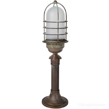 Pizzo Small Lamp Post Aged Copper With Opal Glass