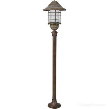 Eboli Large Lamp Post Aged Copper With Opal Glass