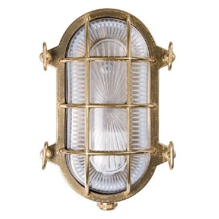 Oval Bulkhead Flush Outdoor Wall Light Unlacquered Brass