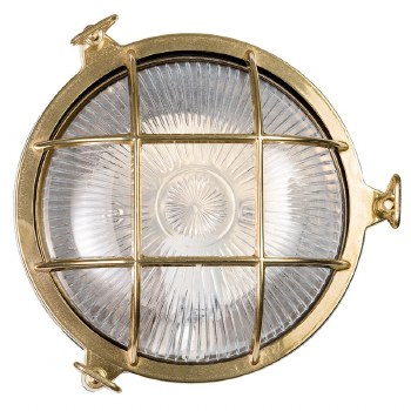 Round Bulkhead Flush Outdoor Light Unlacquered Brass 210mm