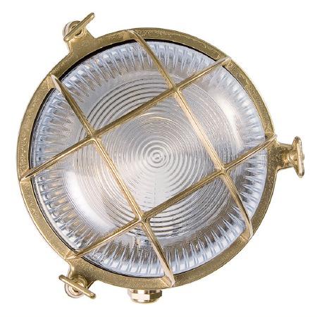 Round Bulkhead Flush Outdoor Light Natural Brass 175mm