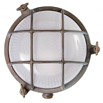 Round Bulkhead Flush Outdoor Light Aged Copper Opaque Glass 175mm