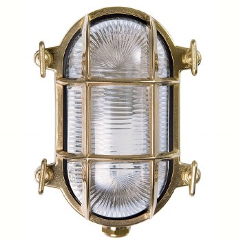 Oval Bulkhead Flush Outdoor Wall Light Small Natural Brass Clear