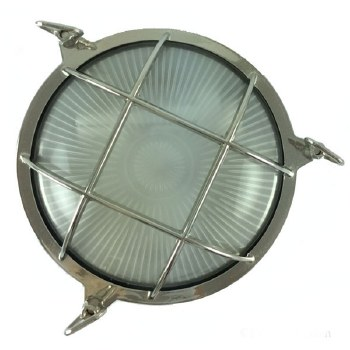 Round Bulkhead Flush Outdoor Light Nickel 210mm