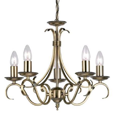 Bernice 5 Light Chandelier Antique Brass