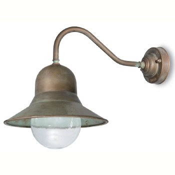Forli Wall Bracket Swan Neck Dome Light Aged Copper Clear Glass