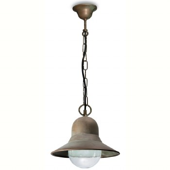 Forli Dome Hanging Pendant Porch Light Aged Copper Clear Glass