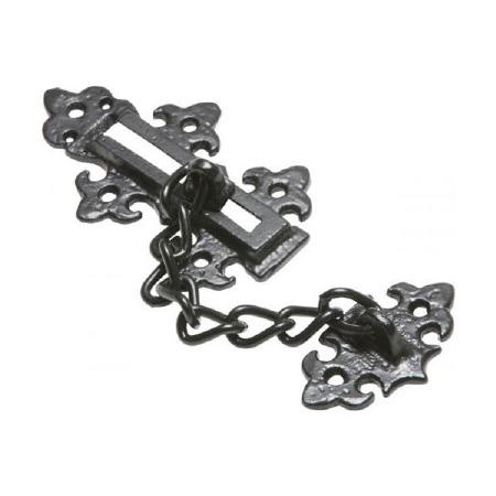 Kirkpatrick 2967 Fleur De Lys Door Security Chain Antique Black