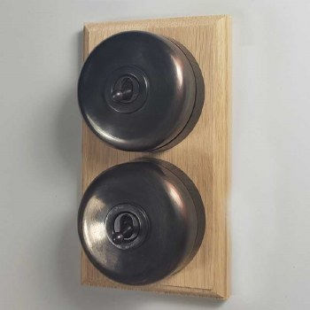 Round Dolly Light Switch on Wooden Base Oil Rubbed Bronze 2 Gang