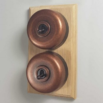 Round Dolly Light Switch on Wooden Base Antique Coppered 2 Gang