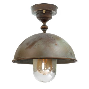 Milan Semi Flush Porch Ceiling Pendant Light Aged Copper