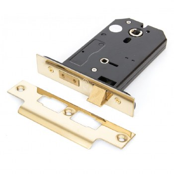 """From The Anvil 3 Lever Horizontal Bathroom Lock 5"""" Polished Brass"""