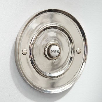 """Round Bell Push 4"""" for Wind-Up Bells Polished Nickel"""