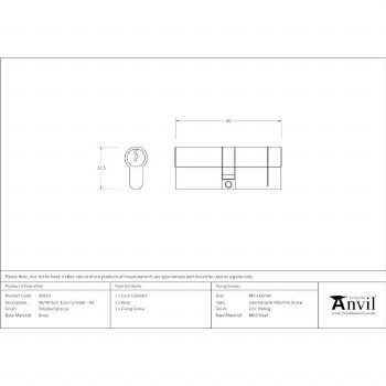 From The Anvil Euro Lock Cylinder 40/40 Polished Bronze Key Alike