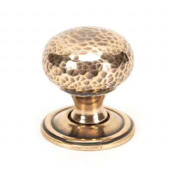 From The Anvil Hammered Mushroom Cabinet Knob 32 Polished Bronze