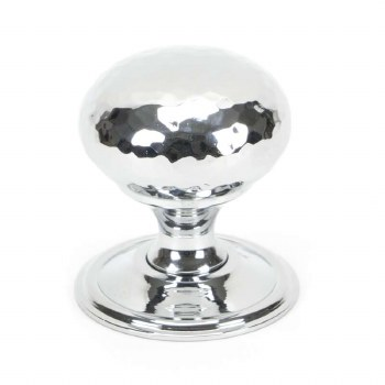 From The Anvil Hammered Mushroom Cabinet Knob 38 Polished Chrome