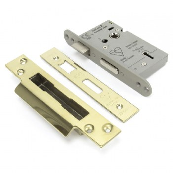 """From The Anvil 5 Lever Heavy Duty Sash Lock BS 2.5"""" Polished Brass Keyed Differ"""