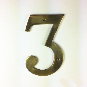 Numeral 3 Polished Brass 150mm