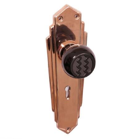 Bakelite Ritz Door Knobs Black on Empire Lockplates Copper