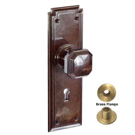 Brolux Bakelite 6401 Door Knobs Walnut With Keyhole