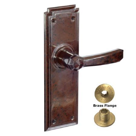 Brolux Bakelite 6404 Unsprung Door Handles Walnut No Keyhole