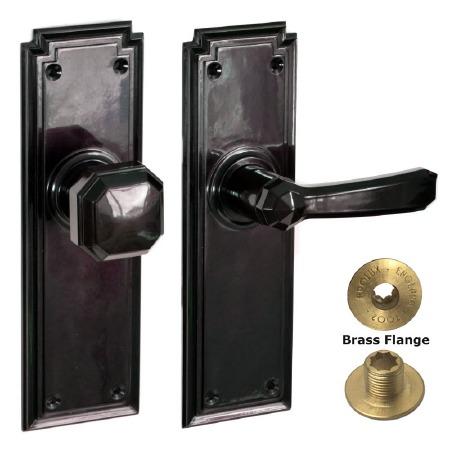 Brolux Bakelite 6406 Unsprung Door Handle & Knob Black
