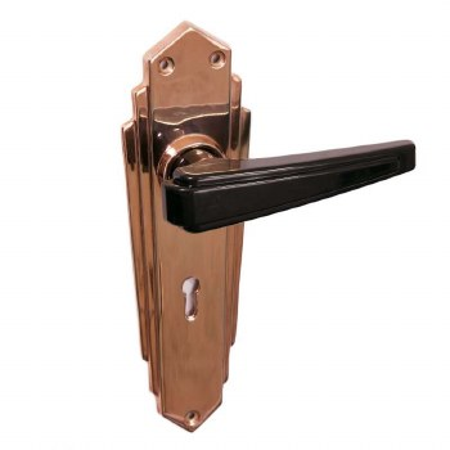 Bakelite Plaza Door Handles Black on Empire Lockplates Copper