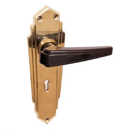 Bakelite Plaza Door Handles Black on Empire Lockplates Brass