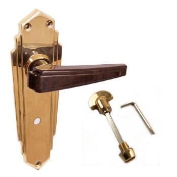 BROLITE 6632M Brass with Walnut Bakelite Unsprung Bathroom Door Handles