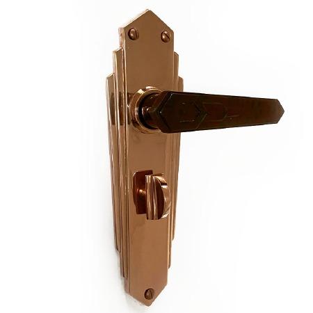 Bakelite Savoy Door Handles Walnut on Empire Bathroom Plates Copper