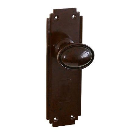 Bakelite Stepped Oval Door Knobs on Deco Latchplates Walnut