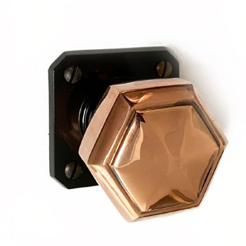 Brolite Hexagonal Copper Door Knobs on Black Bakelite Rose