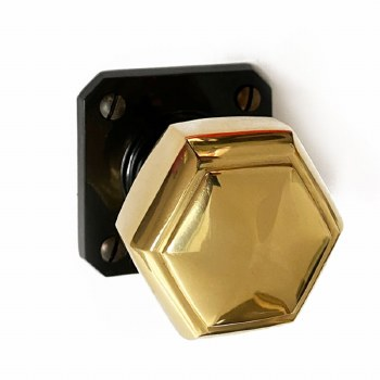 Brolite Hexagonal Brass Door Knobs on Black Bakelite Rose